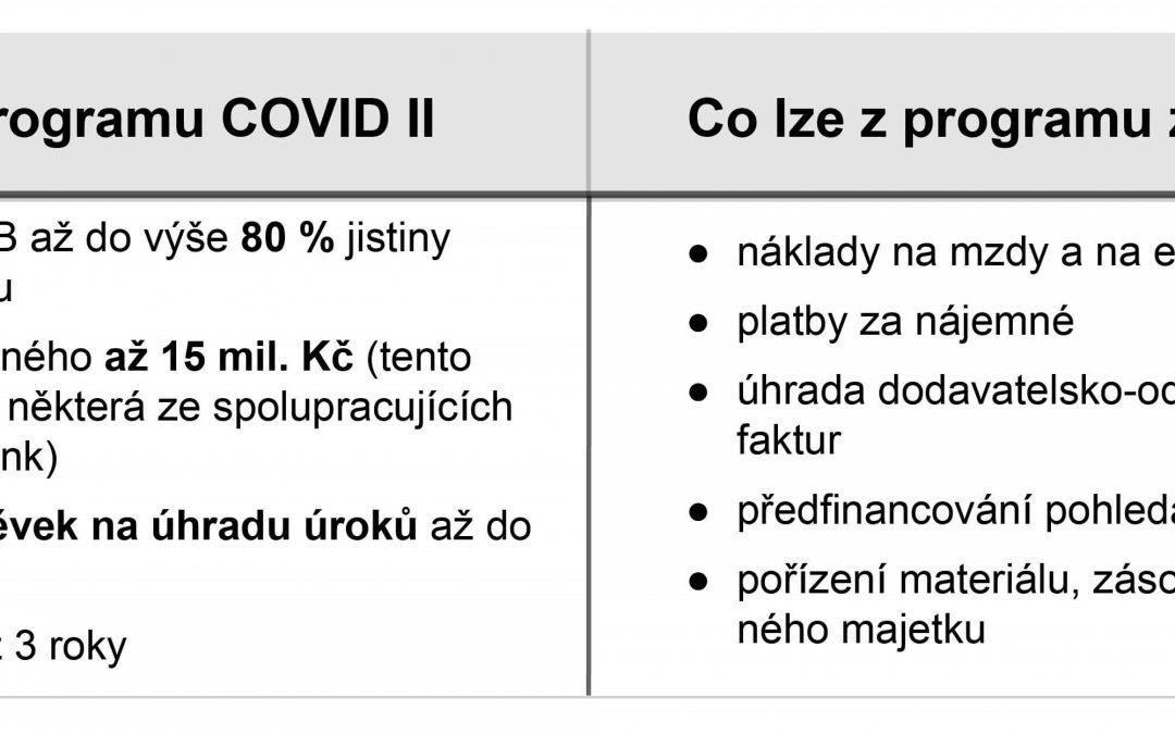 Program COVID II – podpora OSVČ a malých a středních podniků